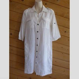 Banana Republic S White 100% Linen Shirt Dress
